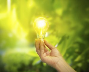 hand holding a light bulb with energy on fresh green